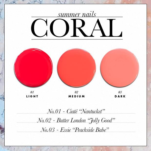 The Perfect Summer Nail Polish Colors for Your Skin Tone - Coral // SHOP this list: www.dailymakeover.com