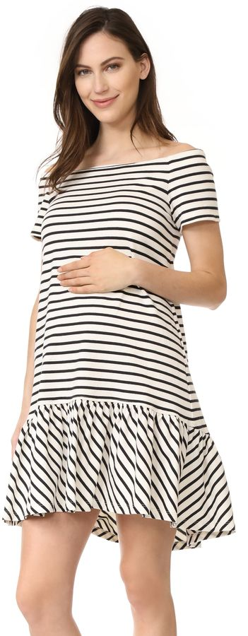 HATCH The Harbour Dress - A striped jersey dress with a flirty off-shoulder neckline and ruffled hem.