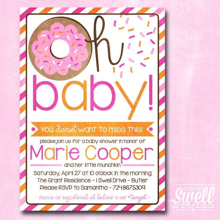 Donut Invitation Doughnut Breakfast Brunch Girl Pink Orange Baby Shower  Sprinkle Digital Printable Invite
