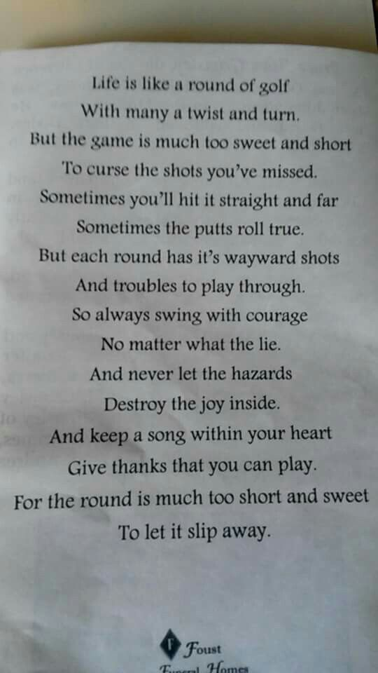Golf poem                                                                                                                                                                                 More