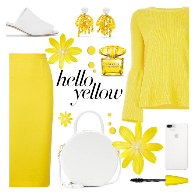 """Hello, Yellow!"" by rasa-j ❤ liked on Polyvore featuring STELLA McCARTNEY, Roland Mouret, Marni, Mansur Gavriel, Versace, Maybelline, womensFashion, PopsOfYellow and NYFWYellow"