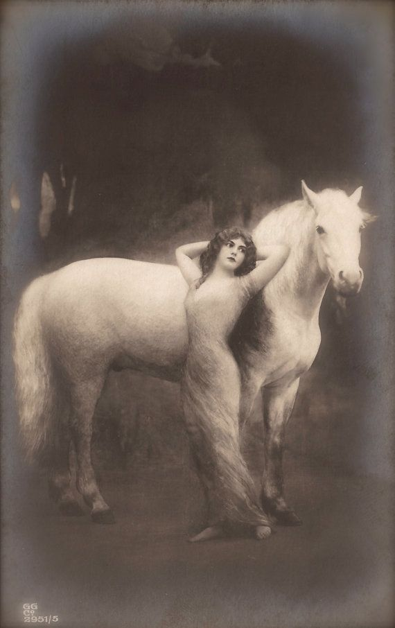The Vintage Prophecy Postcards… Mysterious Long Hair Forest Nymph Epic Fantasy with Horse by Gerlach