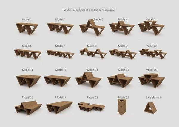 The use of a traingular shape, to create modular and functional seating