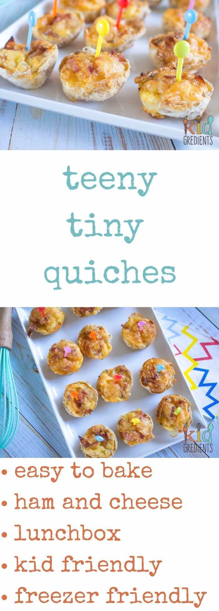 Teeny tiny quiches, these are the easiest lunchbox item you can make! Easy recipe that's a kid friendly party food! via @kidgredients
