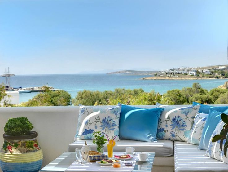 Outside veranda of #AloniParos hotel overlooking Piso Livadi #Paros #PisoLivadi