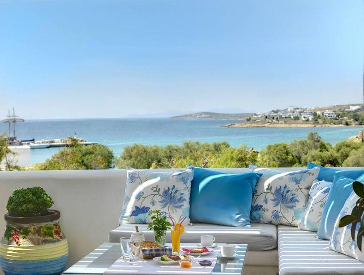 Outside veranda of #AloniParos hotel overlooking Piso Livadi #Paros #PisoLivadi