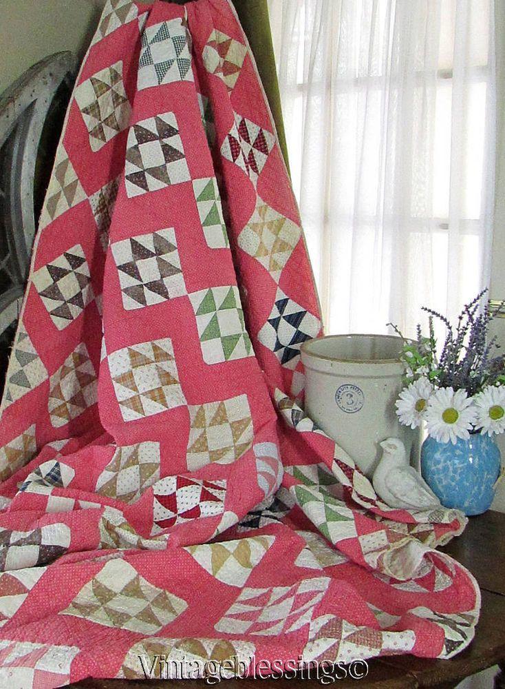 Antique c1880 Cats Cradle c1880s Double Pink QUILT Clean  Vintageblessings