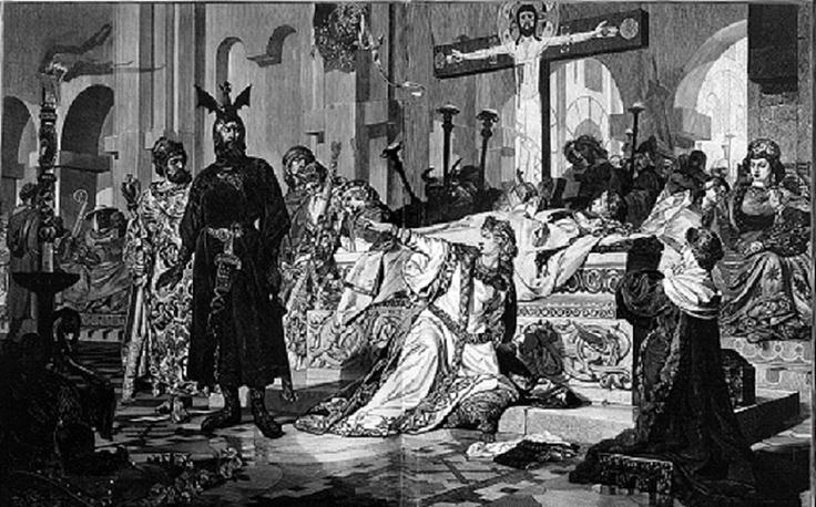 Hagen y Kriemhilde frente al cuerpo de Siegfried. El Cantar de los Nibelungos)