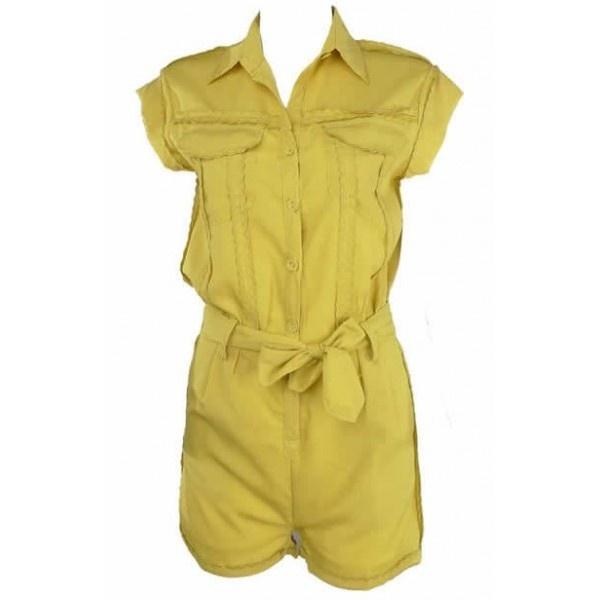 Women Candy Lapel Pocket Casual Belt Jumpsuit Slim Cotton Yellow Short... ($15) via Polyvore