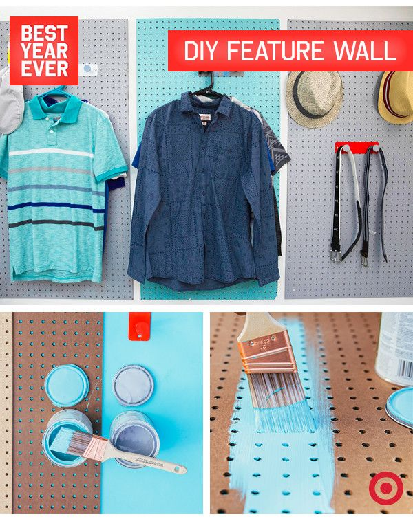 Create a functional feature wall 1. Paint pieces of pegboard using colors that reflect your style. 2. Measure where to add RE Hooks based off of what you'll be hanging (shirts, hats, bags). 3. Screw hooks into place and hang boards on wall with removable hooks. 4. Dress it up!