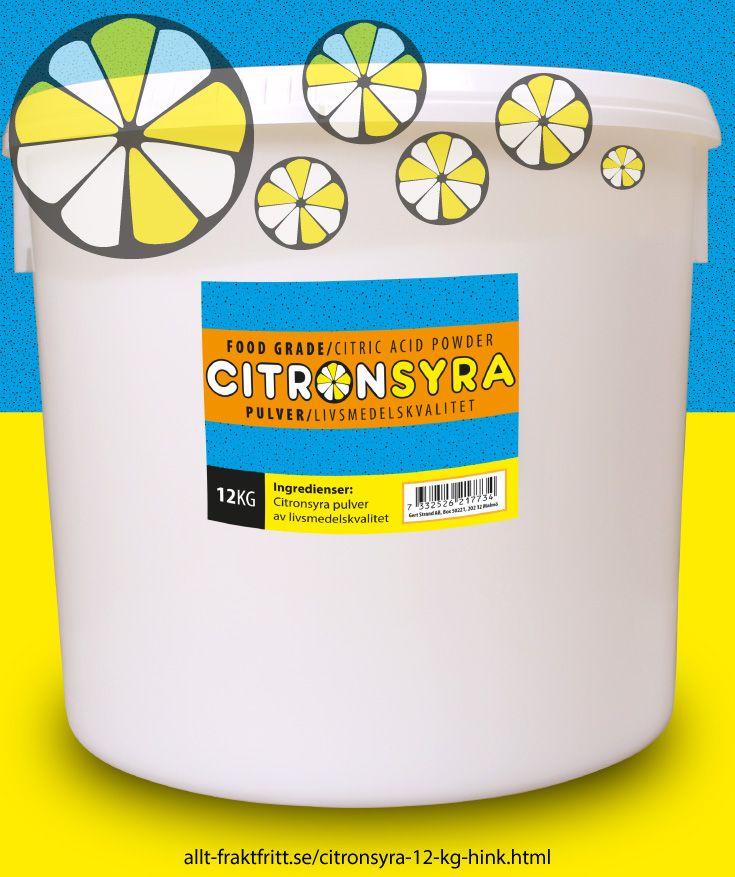 Citronsyra 12 kg hink - Citronsyra, livsmedelsgodkänd till drycker, godis, tvätt och avkalkning av livsmedelsytor, avkalkning av alla sorters maskiner, tvättmaskinrengöring etc.