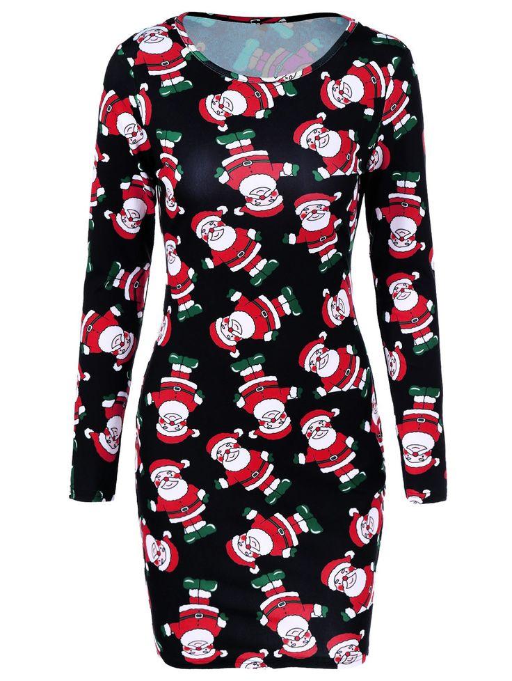 $8.63 Father Christmas Print Dress in Black | Sammydress.com
