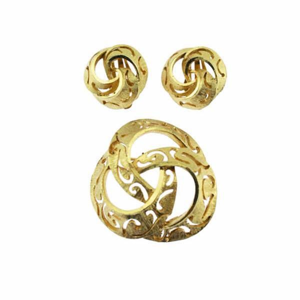 Coro Gold Knot Brooch and Earrings