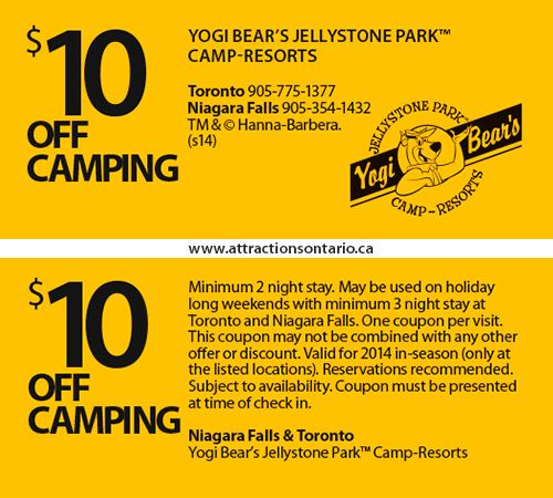ATTRACTIONS ONTARIO - $10 Off Camping at Yogi Bear's Camp-Resorte. Steve Pacheco Real Estate. More coupons: bit.ly/1hupagH