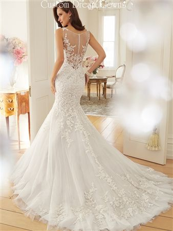 Romantic beaded lace tulle mermaid wedding dress with a for Beautiful fitted wedding dresses