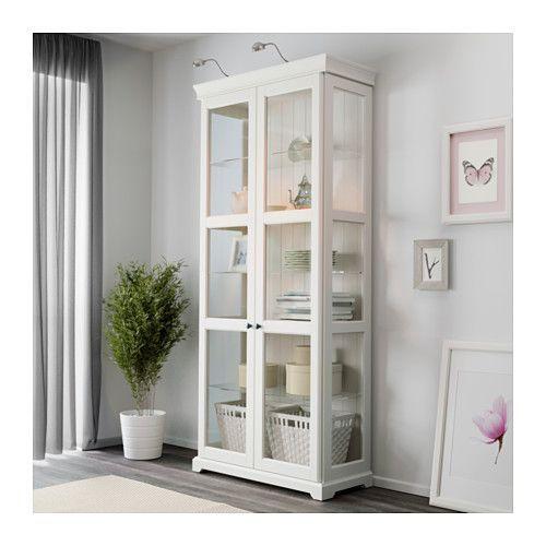 Hemnes Sideboard Graubraun ~ Ikea Wohnwand Liatorp  IKEA Storage Cabinet with Glass Doors