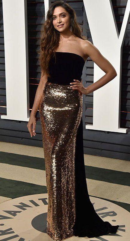 Deepika Padukone in Monique Lhuillier attends the 2017 Vanity Fair Oscar Party. #bestdressed