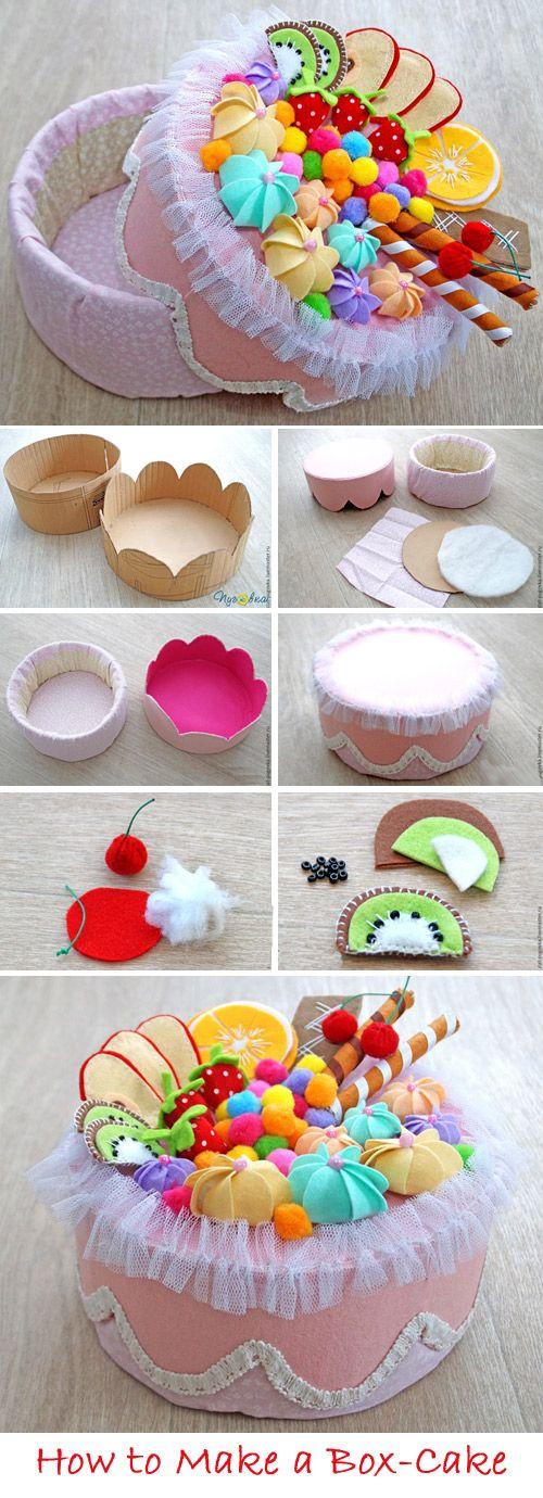 Cake-box for storage DIY Tutorial  http://www.handmadiya.com/2017/04/cake-box-for-storage-tutorial.html