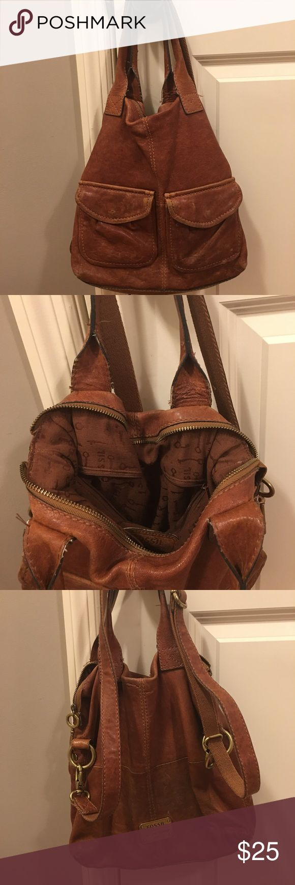 Fossil Bag A well loved, but still has life Fossil Bag. Drape cross body or over your shoulder. A darker camel brown in color. Goes with many outfits. Fossil Bags