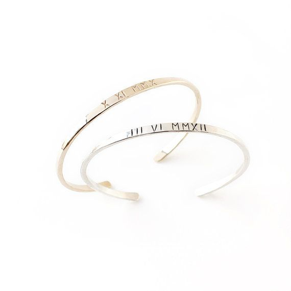 PRE-ORDER Roman Numeral Cuff Bracelet / personalized 14k gold-fill, sterling silver bangle / custom stamped date jewelry / Valentine's Day on Etsy, $98.00