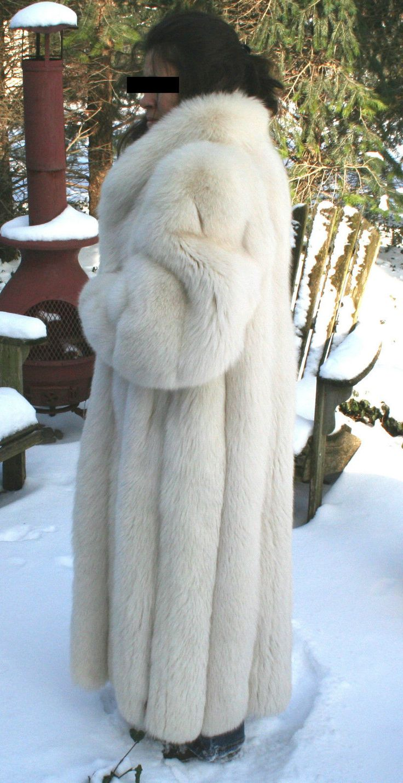 Rare White Polar Fox Fur Coat   Full Length  Extrordinary