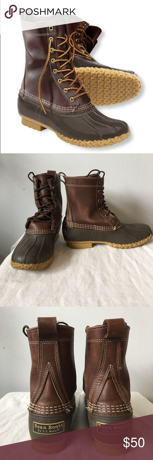 LL Bean Boots in Brown Kid's 4, Women's 6 Iconic brown Bean boots! Nothing beats the original. Perfect for snow or rain. These boots were from 2014 and are kid's size 4, which fits like a women's 6. General wear and scuffing throughout, but still in good condition. L.L. Bean Shoes Winter & Rain Boots