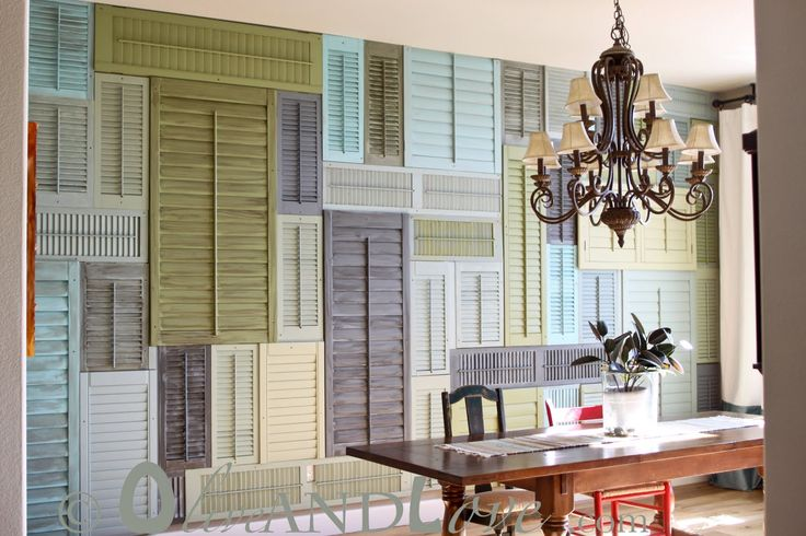 Super unique wall treatment... shutter wall  via Olive and LoveOld Shutters, Decor Ideas, Dreams, Cool Ideas, House, Diy, Shutters Wall, Design, Accent Wall