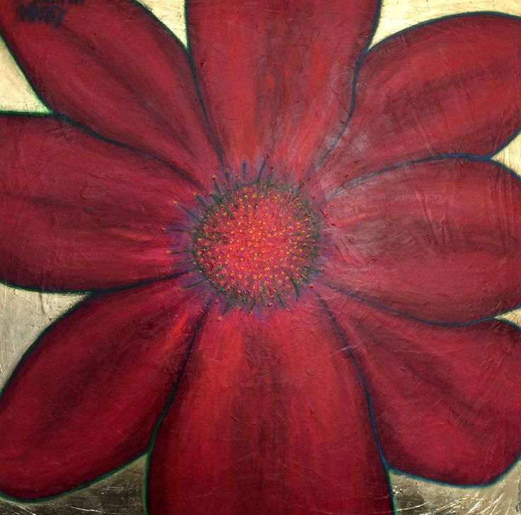 Acryl and olie painting.  100x100cm Big red flower.