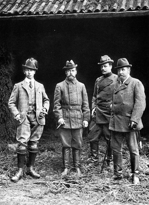 From left: Hereditary Prince Alfred of Saxe-Coburg and Gotha; Tsar Nikolai II of Russia; Grand Duke Ernst Ludwig of Hesse and By Rhine; Prince Alfred, Duke of Saxe-Coburg and Gotha