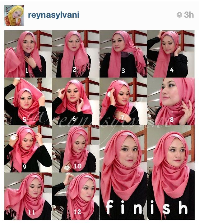 Today's hijab style inspired by Instagram's @reynasylvani. Way to go girl! :)
