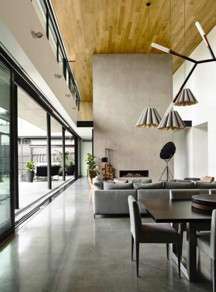 salon d'esprit loft contemporain avec sol leroy merlin beton ciré