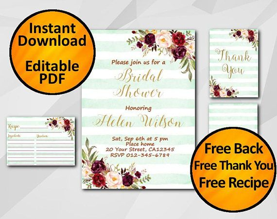 Stripped turquoise Bridal Shower Invitation by Digi Invites https://www.etsy.com/shop/DigiInvites/  - Free Recipe Card - Free Thank You Card - Free Back  It's super easy an... #watercolor #editable #printable ➡️ https://www.etsy.com/digiinvites/listing/546904439/editable-bridal-shower-invitation?utm_campaign=products&utm_content=e9815550dd9044d7aa39cee0002f8071&utm_medium=pinterest&utm_source=sellertools
