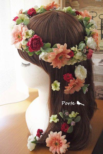 ガーベラの花冠&髪飾り ウェディングブーケ・花冠・通販専門店「ぽると」