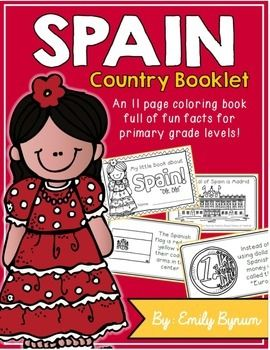 "This ""All About Spain"" booklet can be used for a very basic country study in lower elementary grades! Each page contains a basic fact and related illustration. All graphics are in an outline format so that it's ready to be colored like a mini-coloring book.This coloring booklet gives all the general/basic information about Spain, including:-geography-Spanish flag-capital city of Madrid (Royal Palace of Madrid)-Spanish foods-flamenco dancing-bullfighting-football (popular sport)-currency…"