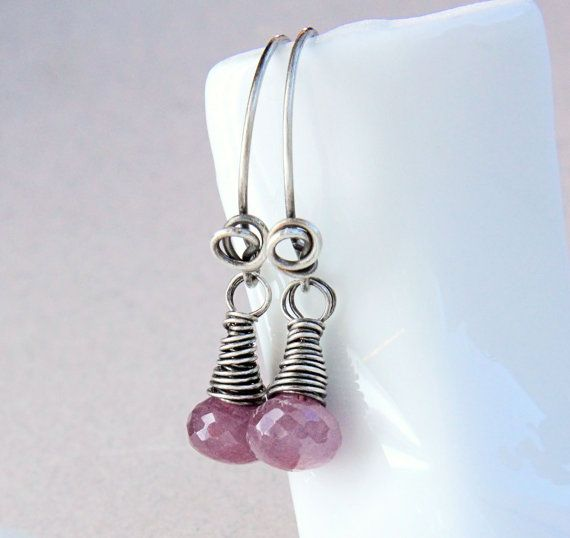 Pink Sapphire  Earrings Oxidized  Silver Gemstone by Hildes