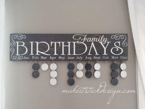Grey Stained and White Vinyl Family Birthday von MakeitStickDesigns