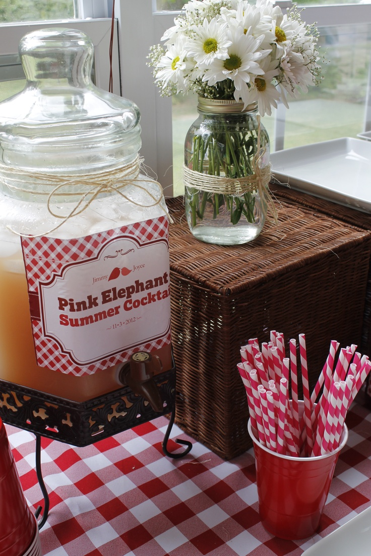 bridal shower country theme drink dispenser flower mason jar