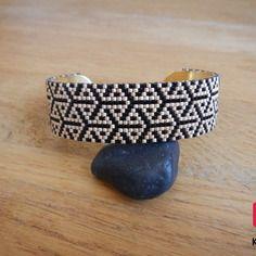 Bracelet manchette en perles miyuki noir et bronze