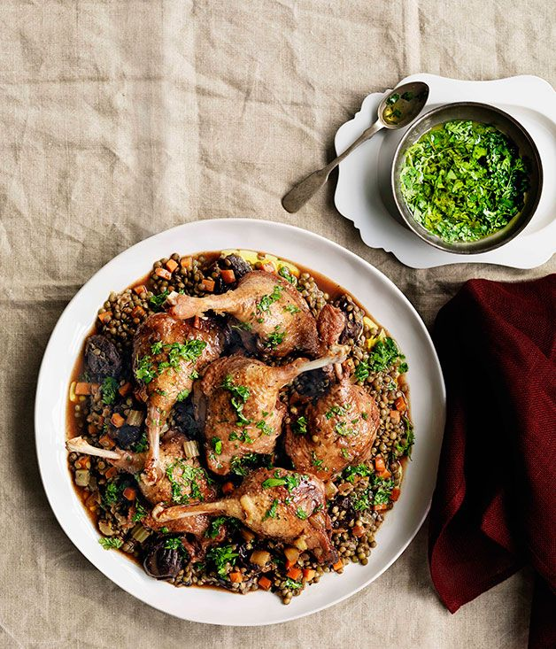 Australian Gourmet Traveller recipe for Duck with red wine, prunes and lentils/ 200 ml hot strong black tea 150 gm pitted prunes 8 duck Marylands 1 each onion, carrot and celery stalk, diced 2 garlic cloves, finely chopped 500 ml full-bodied red wine 400 ml veal stock 3 thyme sprigs 2 fresh bay leaves 1 cinnamon quill 400 gm small green French-style lentils   Fines herbes vinaigrette 2 tsp each finely chopped flat-leaf parsley, chervil, tarragon and thyme 70 ml extra-virgin olive oil 30 ml…
