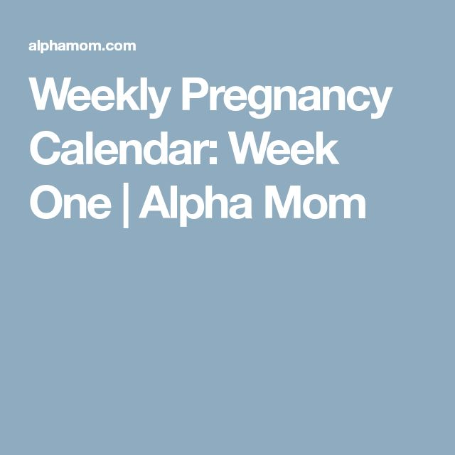 Weekly Pregnancy Calendar: Week One | Alpha Mom