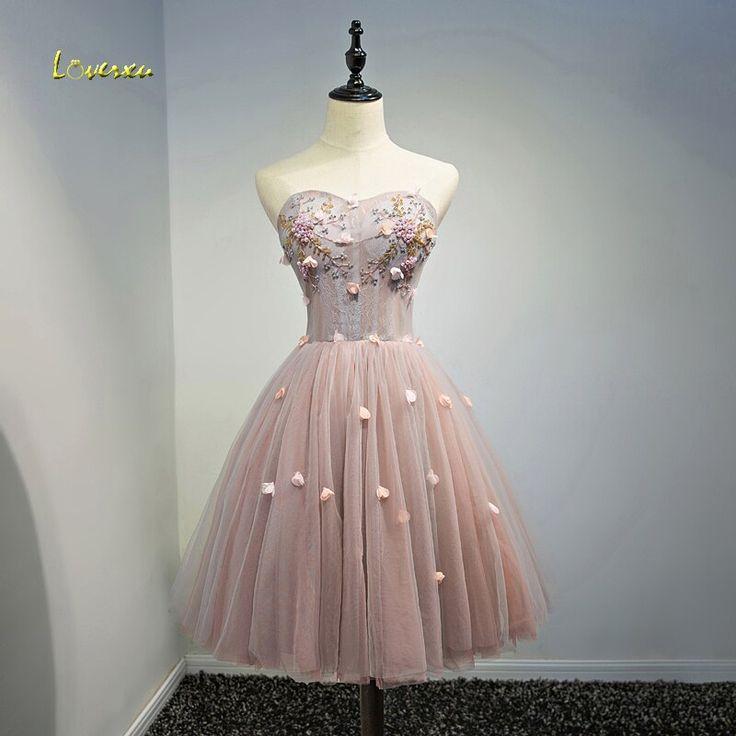 Loverxu Romantic Off the Shoulder Lace Appliques A-line Cocktail Dress 2017 Deli…