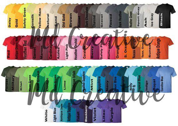 Every Color Digital File Shirt Color Chart Gildan 5000 Unisex