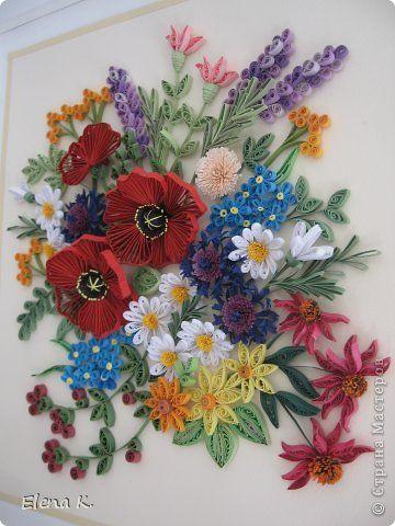 Картина панно рисунок Квиллинг Летние цветы Бумажные полосы фото 1