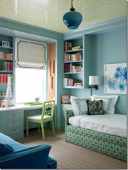 pretty bedroom: Romans Shades, Built In, Girls Bedrooms, Color, Bedrooms Design, Blue Bedrooms, Guest Rooms, Girls Rooms, Kids Rooms