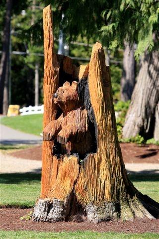Bear carving at Arrowsmith Golf Course, Qualicum Beach, BC