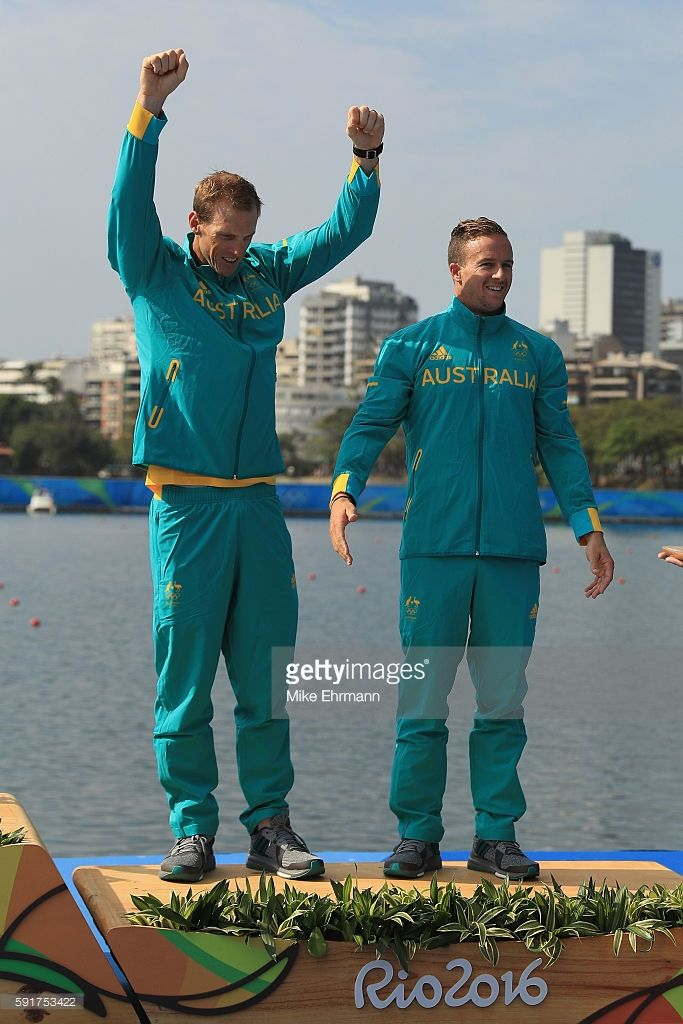 Bronze medalists Ken Wallace and Lachlan Tame of Australia stand on the podium…
