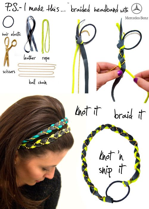 To create, cut a piece of leather approximately 1/2 wide and 2.5-3 ft long.  Add a bright cord (or ribbon) and ball chain.  Knot all three materials together onto a hair elastic and braid.  Once you have a braid long enough to wrap around your head, knot off on the other end of the  hair elastic.  Be sure to pull tight to make sure its secure. Snip the ends
