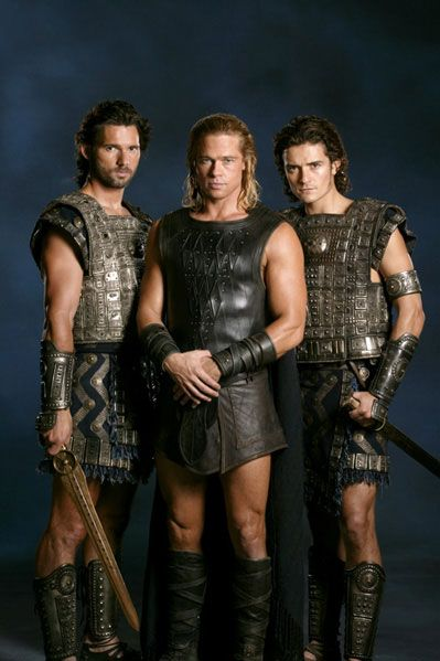 The men of Troy: Eric Bana,  Brad Pitt,  Orlando Bloom in leather armor @Brittnie Lawhon Lawhon trueblood
