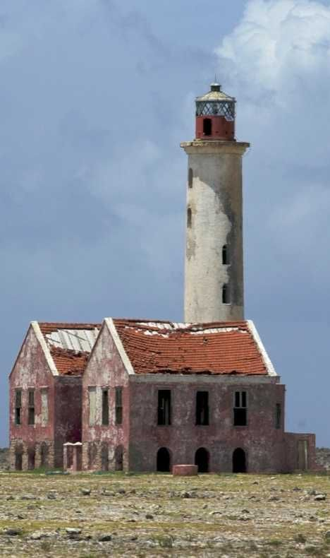 The decaying Klein lighthouse was built in 1850 on a tiny bit of land 11km off the southeastern tip of Curacao in the Caribbean Sea. Now it is hollowed out and crumbling rapidly despite being rebuilt once in 1879 and again in 1913.