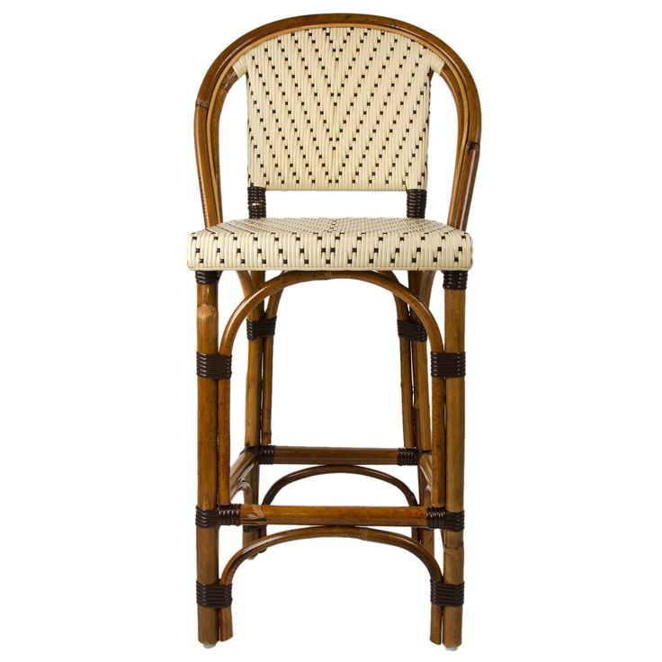 These rattan-framed bar stools with backs are part of the iconic French bistros of Le Midi, or the south of France. Hand-woven and artisan crafted, these French style bistro stools in bright synthetic material, will add a pop of color to your outdoor or indoor space.
